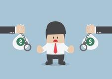 L'uomo d'affari non accetta l'offerta di prestito, concetto finanziario Fotografia Stock