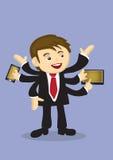 L'uomo d'affari occupato Multitasking con il multiplo arma il fumetto di vettore Immagine Stock