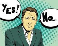 L'uomo d'affari opera la scelta sì oppure no Retro illustrazione comica di vettore di stile di Pop art Fotografie Stock Libere da Diritti
