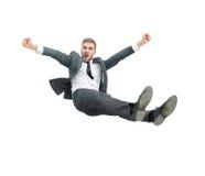 L'uomo d'affari ottiene gettato nell'aria dai lavoratori di co durante il celebra Immagini Stock Libere da Diritti