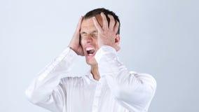 L'uomo d'affari ottiene le cattive notizie del rifiuto di lavoro, gridanti Immagini Stock Libere da Diritti