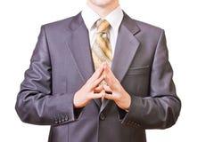 L'uomo d'affari potente piega insieme le mani Fotografia Stock Libera da Diritti