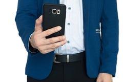 L'uomo d'affari prende una foto con lo Smart Phone Fotografie Stock