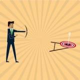 L'uomo d'affari può fucilazione sul mezzo l'obiettivo Fotografia Stock