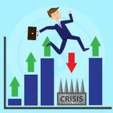 L'uomo d'affari salta pianamente sopra la crisi d'evasione di profondità illustrazione di stock