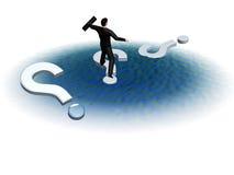 L'uomo d'affari salta sull'acqua dentro Fotografia Stock