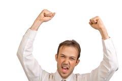 L'uomo d'affari si rallegra nella vittoria Fotografie Stock Libere da Diritti