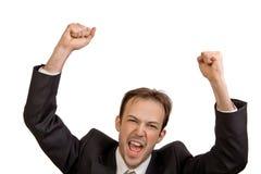 L'uomo d'affari si rallegra nella vittoria Immagine Stock
