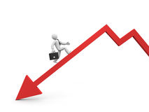 L'uomo d'affari sormonta la crisi finanziaria. Fotografia Stock Libera da Diritti