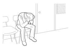 L'uomo d'affari sovraccarico è nell'ambito dello sforzo con l'emicrania Uomo preoccupato, illustrazione nera isolata su fondo bia illustrazione di stock