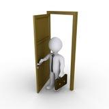L'uomo d'affari sta aprendo una porta Fotografia Stock Libera da Diritti