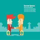 L'uomo d'affari stringe le mani per l'affare di affare illustrazione vettoriale