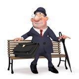 L'uomo d'affari sulla via sotto un ombrello. Fotografia Stock Libera da Diritti