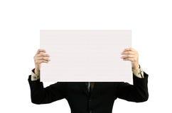L'uomo d'affari tiene i segni in bianco. Fotografia Stock