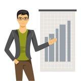 L'uomo d'affari tiene la presentazione Illustrazione di vettore Illustrazione di Stock