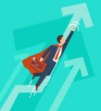 L'uomo d'affari in un supereroe del vestito vola su Direzione e concetto di crescita di affari Progettazione piana Illustrazione  Immagini Stock Libere da Diritti