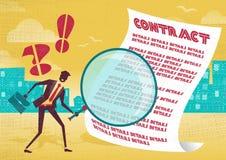 L'uomo d'affari utilizza la lente d'ingrandimento per controllare il contratto Immagine Stock