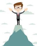 L'uomo d'affari va alla cima della montagna - vettore Fotografia Stock