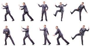 L'uomo d'affari in varie pose isolato su bianco Fotografie Stock Libere da Diritti
