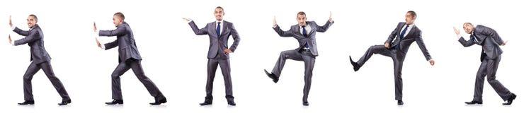 L'uomo d'affari in varie pose isolato su bianco Immagine Stock