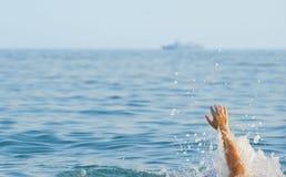 L'uomo d'annegamento Fotografie Stock