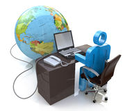 l'uomo 3d che lavora al computer si è collegato al globo Fotografia Stock