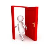 l'uomo 3d fa la giusta passeggiata choice attraverso la porta rossa Immagine Stock Libera da Diritti