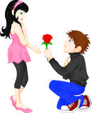L'uomo dà le donne rosse del fiore Fotografia Stock