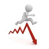 l'uomo 3d salta sopra il grafico della freccia giù o il concetto di problema di business sopra fondo bianco con ombra Fotografia Stock