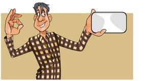 L'uomo del fumetto in camicia mostra una carta in bianco ed il gesto di approvazione Fotografie Stock