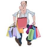 L'uomo del fumetto che cammina con i lotti del negozio insacca Immagini Stock Libere da Diritti
