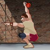 L'uomo del fumetto si accovaccia con kettlebell sul fondo del muro di mattoni royalty illustrazione gratis