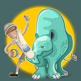 L'uomo del guerriero di Eco intonaca il rinoceronte Horn royalty illustrazione gratis
