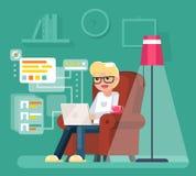 L'uomo del lavoro a casa si siede in poltrona con l'illustrazione piana di lavoro di vettore di progettazione di Internet del com Fotografia Stock