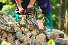 L'uomo del registratore automatico sta tagliando il legno Fotografie Stock