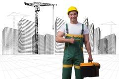 L'uomo della costruzione con le costruzioni disegnate a mano Fotografia Stock