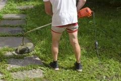 L'uomo della falciatrice da giardino in breve nel calore, falcia il regolatore dell'erba fotografie stock