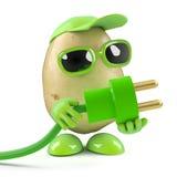 l'uomo della patata 3d usa l'energia verde Fotografia Stock