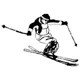 L'uomo della siluetta salta sullo sci, illustrazione in bianco e nero di lerciume di vettore Immagine Stock