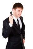 L'uomo di affari cattura il telefono mobile Fotografia Stock