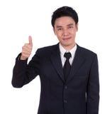 L'uomo di affari che mostra i pollici aumenta il gesto Immagini Stock Libere da Diritti