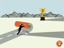 L'uomo di affari crea per possedere i trophys di modo Immagine Stock