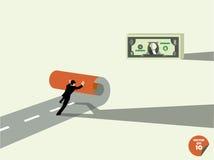 L'uomo di affari crea per possedere il modo ai soldi del dollaro Fotografia Stock