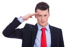 L'uomo di affari dà il saluto Fotografie Stock
