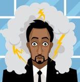 L'uomo di affari dell'ufficio si è preoccupato con una tempesta in sua testa Immagini Stock