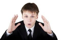 L'uomo di affari fa il fronte sorpreso Fotografia Stock Libera da Diritti