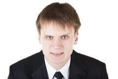 L'uomo di affari fa il fronte spaventoso arrabbiato Immagine Stock