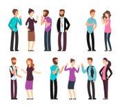 L'uomo di affari, la donna e la gente hanno conversazione, la discussione, parlante ed ascoltante Caratteri di vettore del fumett illustrazione di stock