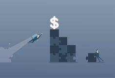 L'uomo di affari risolve il puzzle che fa le scale e che vola con il concetto della concorrenza di Rocket To Dollar Money Success Fotografie Stock