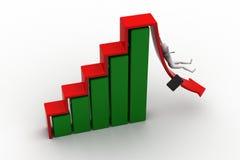 L'uomo di affari rotola giù la freccia rossa. immagine 3d. Illustrazione di Stock